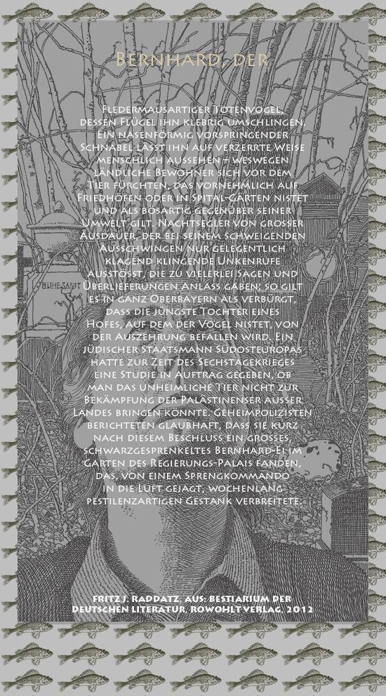 """Bild von Juliane Duda mit den Zeichnungen von Klaus Ensikat und den Texten von Fritz J. Raddatz aus seinem Bestiarium der deutschen Literatur. Hier """"Bernhard, der""""."""