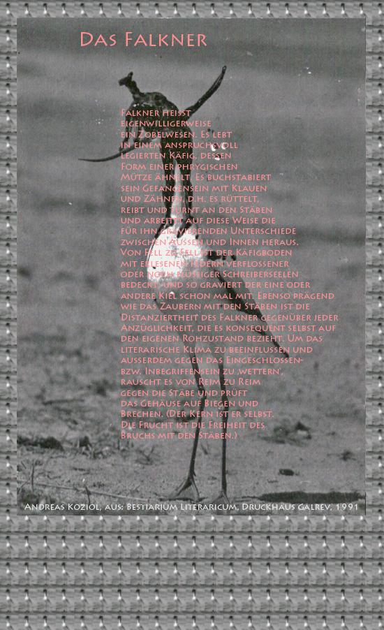 """Bild von Juliane Duda mit den Übermalungen von C.M.P. Schleime und den Texten von Andreas Koziol aus seinem Bestiarium Literaricum. Hier """"Das Falkner""""."""