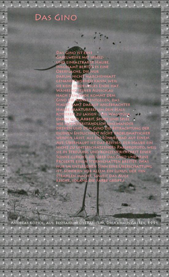 """Bild von Juliane Duda mit den Übermalungen von C.M.P. Schleime und den Texten von Andreas Koziol aus seinem Bestiarium Literaricum. Hier """"Das Gino""""."""