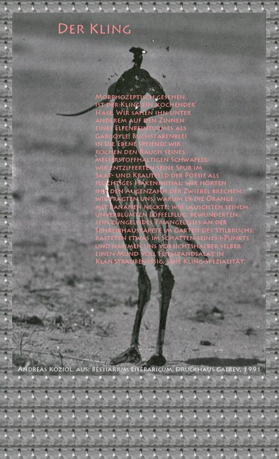 """Bild von Juliane Duda mit den Übermalungen von C.M.P. Schleime und den Texten von Andreas Koziol aus seinem Bestiarium Literaricum. Hier """"Der Kling""""."""