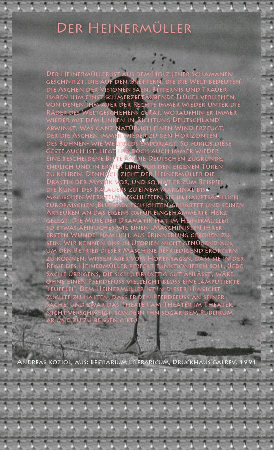 """Bild von Juliane Duda mit den Übermalungen von C.M.P. Schleime und den Texten von Andreas Koziol aus seinem Bestiarium Literaricum. Hier """"Der Heinermüller""""."""