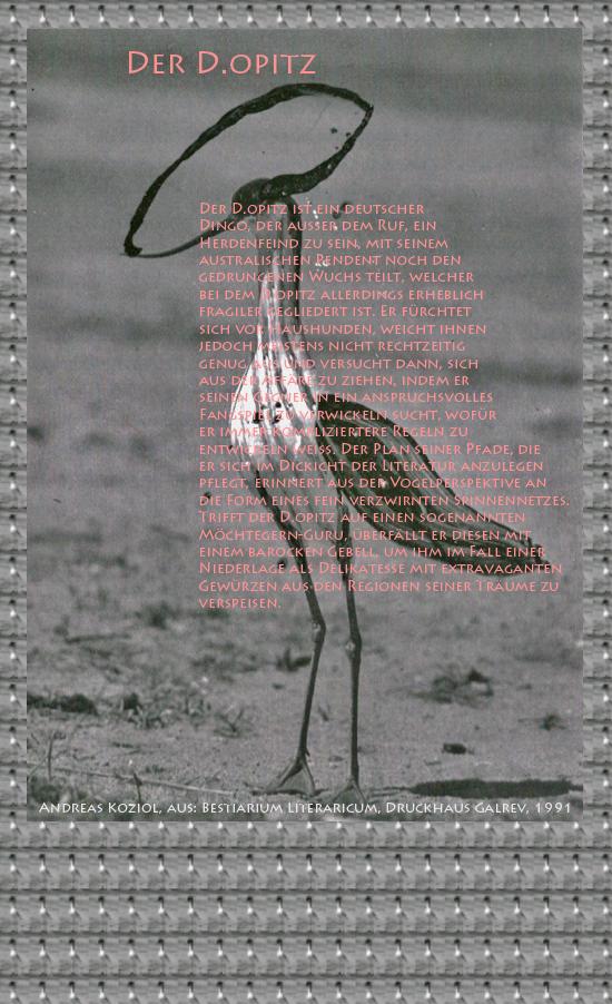 """Bild von Juliane Duda mit den Übermalungen von C.M.P. Schleime und den Texten von Andreas Koziol aus seinem Bestiarium Literaricum. Hier """"Der D.opitz""""."""