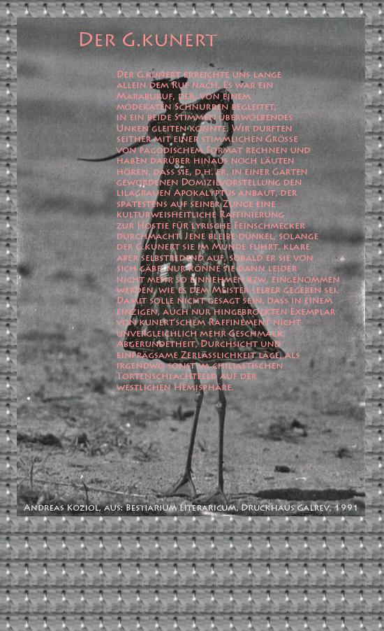 """Bild von Juliane Duda mit den Übermalungen von C.M.P. Schleime und den Texten von Andreas Koziol aus seinem Bestiarium Literaricum. Hier """"Der G.kunert""""."""