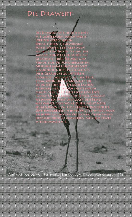 """Bild von Juliane Duda mit den Übermalungen von C.M.P. Schleime und den Texten von Andreas Koziol aus seinem Bestiarium Literaricum. Hier """"Die Drawert""""."""