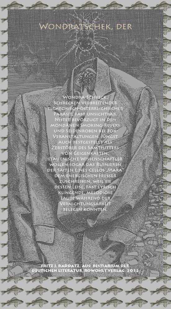 """Bild von Juliane Duda mit den Zeichnungen von Klaus Ensikat und den Texten von Fritz J. Raddatz aus seinem Bestiarium der deutschen Literatur. Hier """"Wondratschek, der""""."""