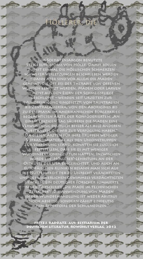 """Bild von Juliane Duda mit den Zeichnungen von Klaus Ensikat und den Texten von Fritz J. Raddatz aus seinem Bestiarium der deutschen Literatur. Hier """"Höllerer, die""""."""