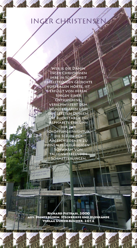 Beitragsbild von Juliane Duda zu Richard Pietraß: Dichterleben – Inger Christensen