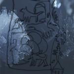 Mashup von Juliane Duda zu dem Buch von Claire Plassard & Florian Vetsch: Steinwürfe ins Lichtaug