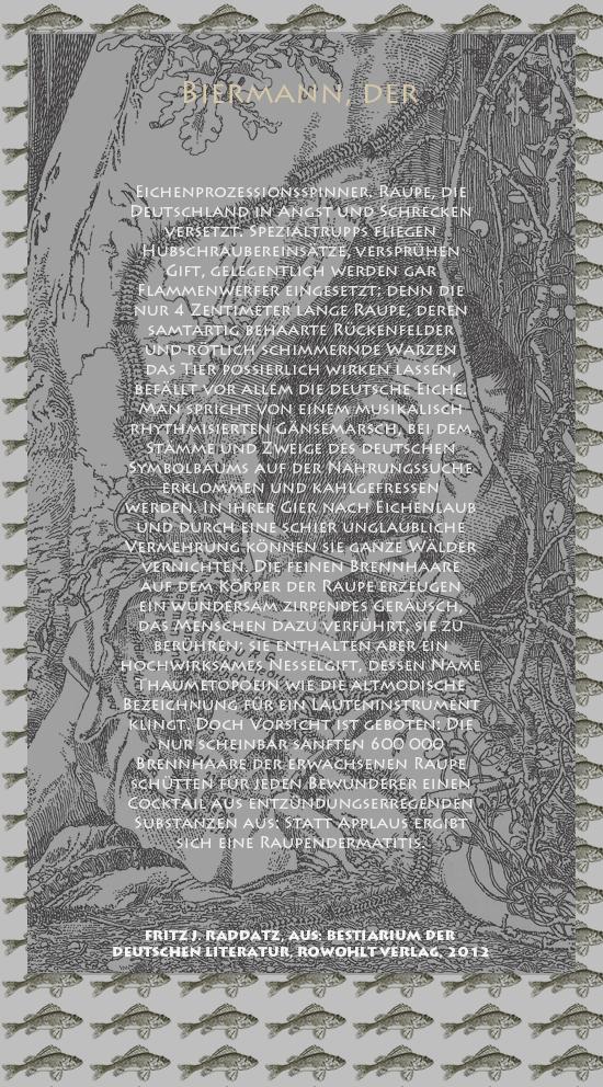 """Bild von Juliane Duda mit den Zeichnungen von Klaus Ensikat und den Texten von Fritz J. Raddatz aus seinem Bestiarium der deutschen Literatur. Hier """"Biermann, der""""."""