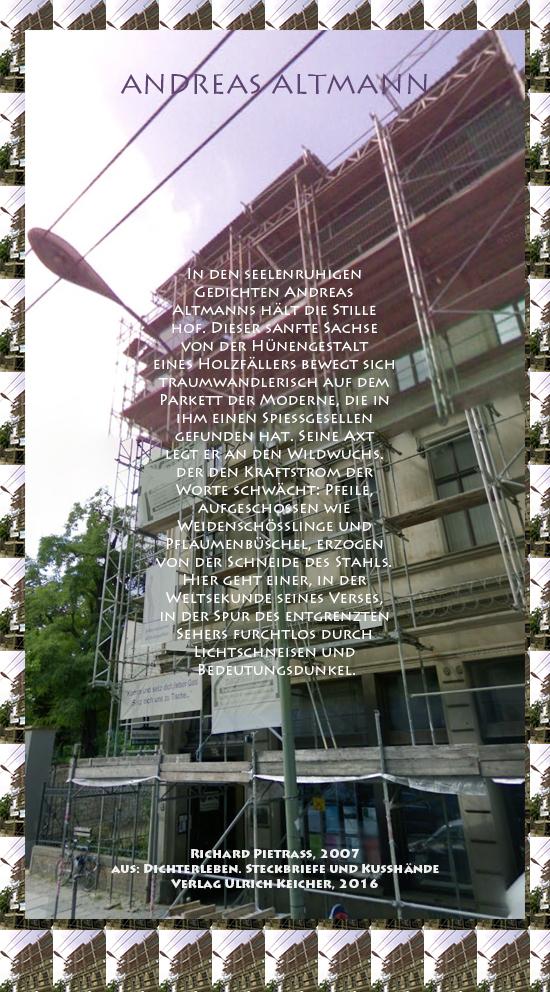 Beitragsbild von Juliane Duda zu Richard Pietraß: Dichterleben – Andreas Altmann