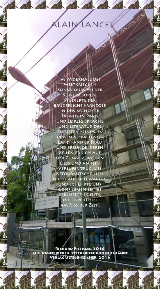 Beitragsbild von Juliane Duda zu Richard Pietraß: Dichterleben – Alain Lance