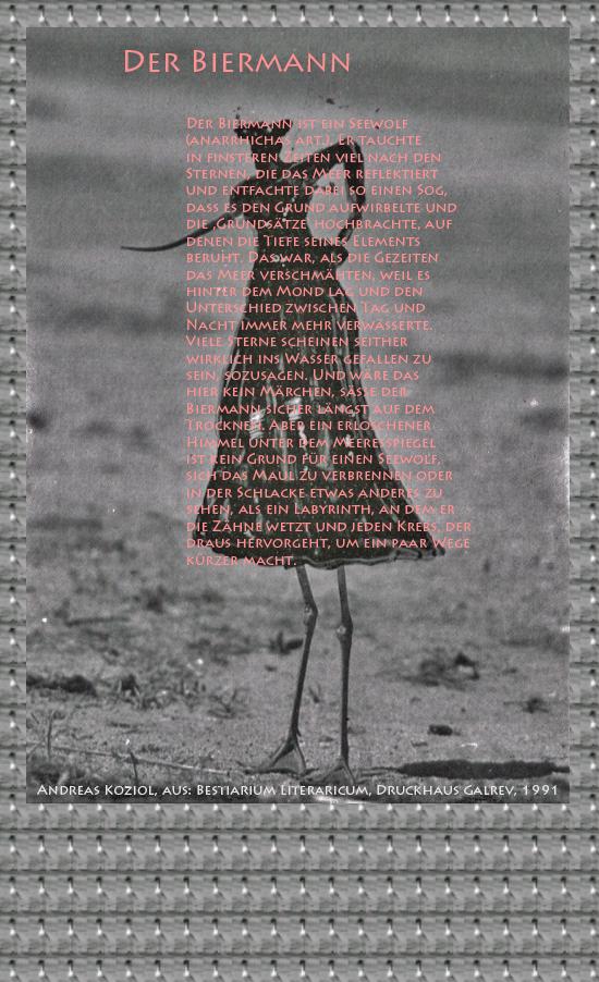 """Bild von Juliane Duda mit den Übermalungen von C.M.P. Schleime und den Texten von Andreas Koziol aus seinem Bestiarium Literaricum. Hier """"Der Biermann""""."""