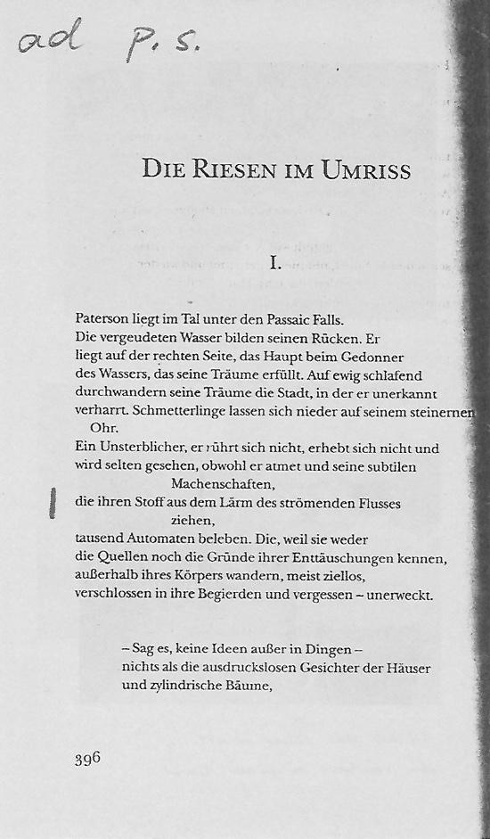 William Carlos Williams Text Seite 396