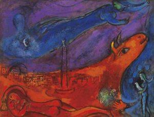 Marc Chagall: Die Bastille, Farblithographie 1954